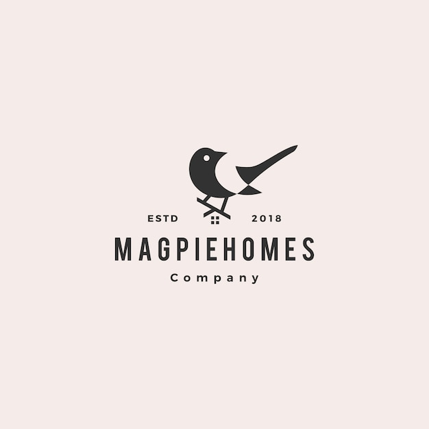 Magpie homes house logo hipster Premium Vector