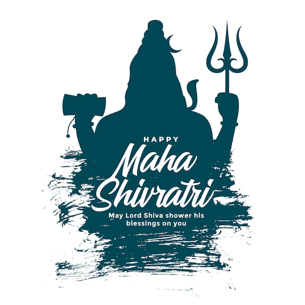 Maha shivratri background with lord shiva silhouette Free Vector