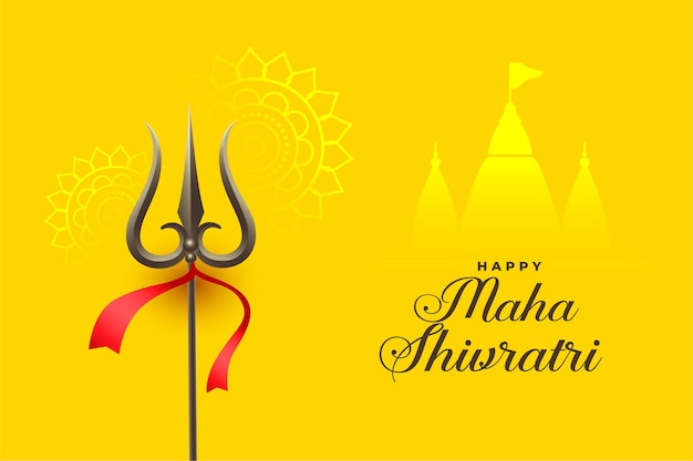 Maha shivratri yellow card with trishul and temple design Free Vector