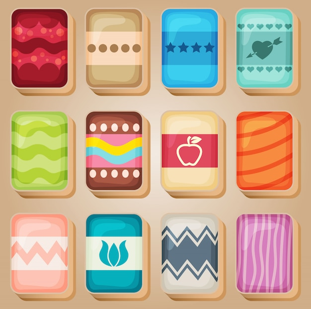 Mahjong cards line set-1 in different color. Premium Vector