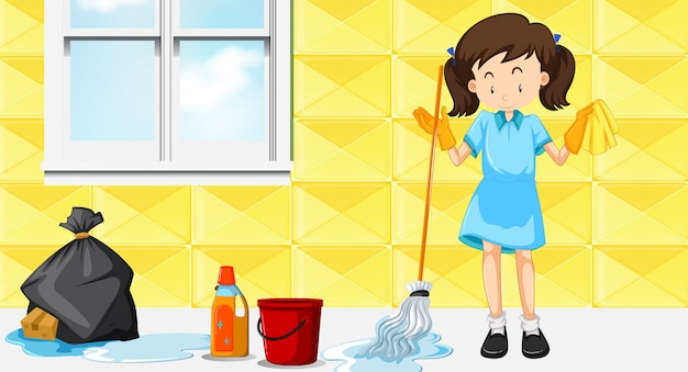 A maid cleaning house Free Vector