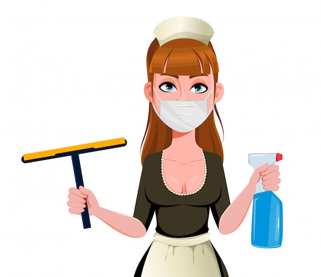 Premium Vector Maid Cleaning Lady Cleaning Woman