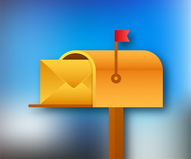 Mail box  illustration in the flat style.  stock illustration. Premium Vector