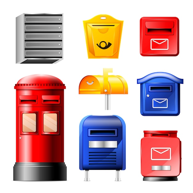 Mail box post mailbox or postal mailing letterbox illustration set of postboxes for delivery mailed letters in envelope isolated on white background Premium Vector