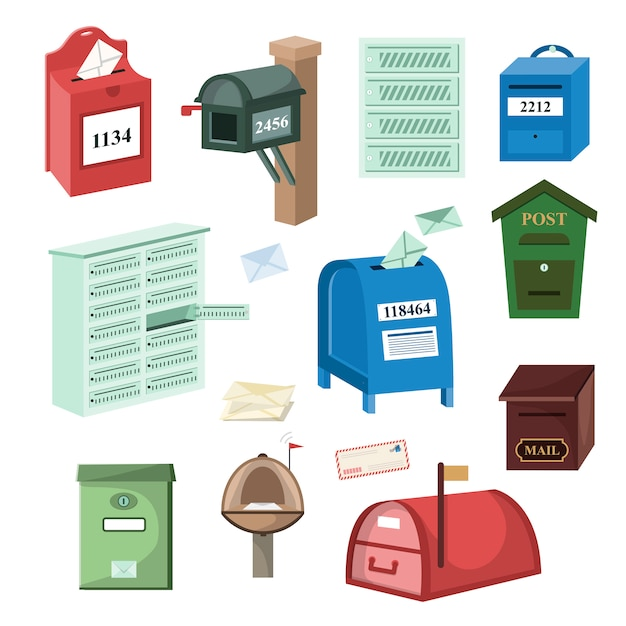 Mail box post mailbox or postal mailing letterbox illustration set of postboxes for delivery mailed letters isolated on white background Premium Vector