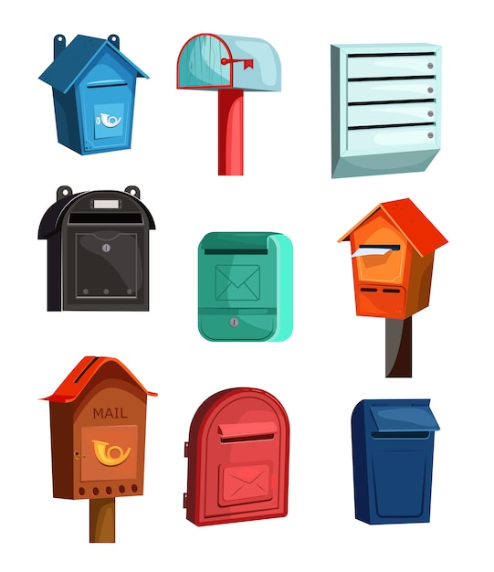 Mail boxes icons set Free Vector