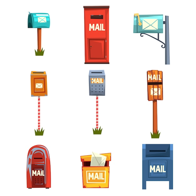 Mail boxes set, vintage postbox cartoon  illustrations  on a white background Premium Vector
