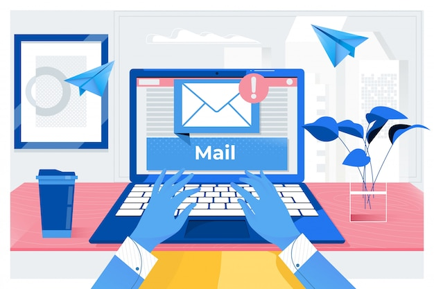 Mail communication. Premium Vector