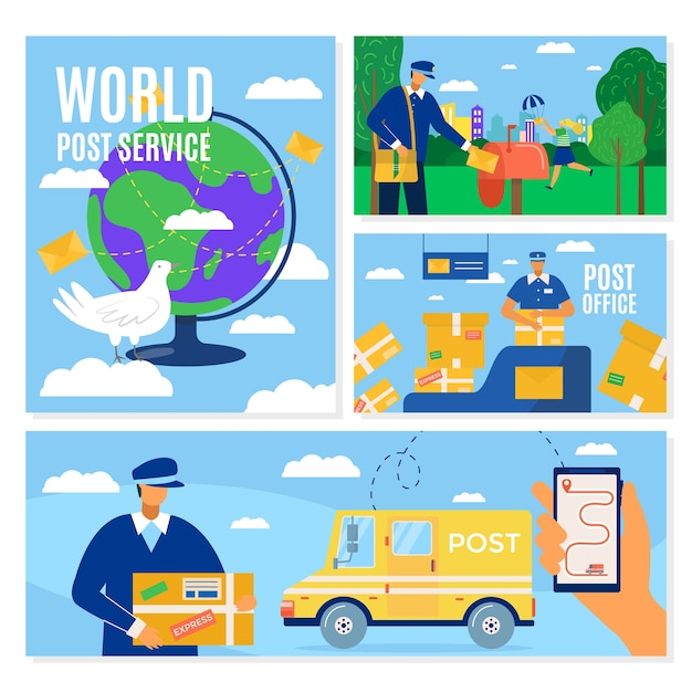 Mail delivery service banners set, postal courier man in front of cargo van delivering package,  illustration. mailbox, packaging and transportation around world by postmen. Premium Vector
