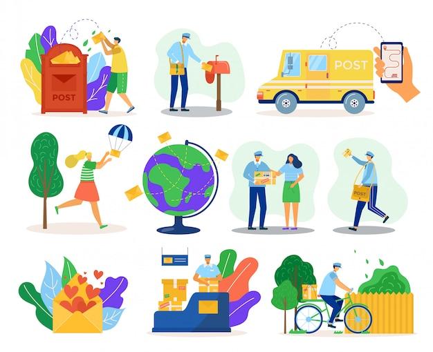 メール配信サービス、packadge、クライアントイラスト付きの制服の宅配便。輸送、自転車の郵便配達、郵便受け、世界各国への配送、およびオンラインでの通信の対応 Premiumベクター