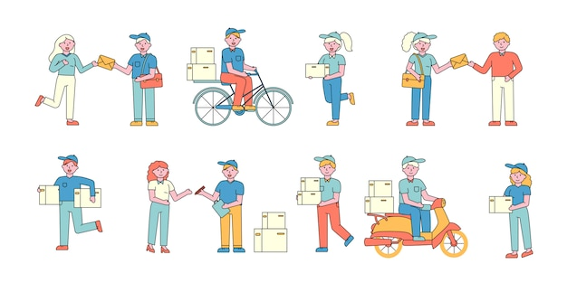Mail Delivery Service Workers Flat Charers Set People