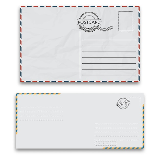 Mail envelopes with seal on white background. Premium Vector