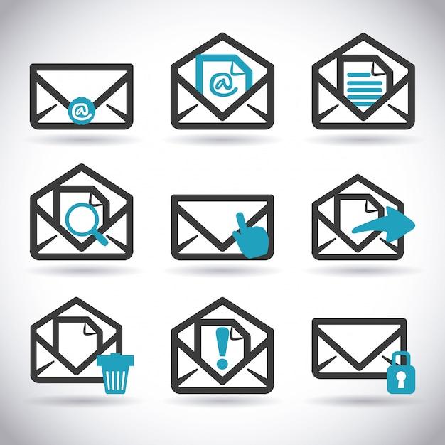Mail icon design Premium Vector