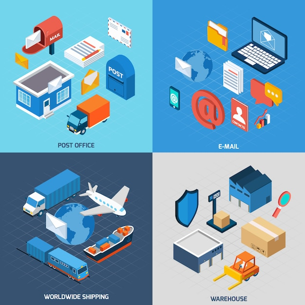 Mail isometric set Free Vector