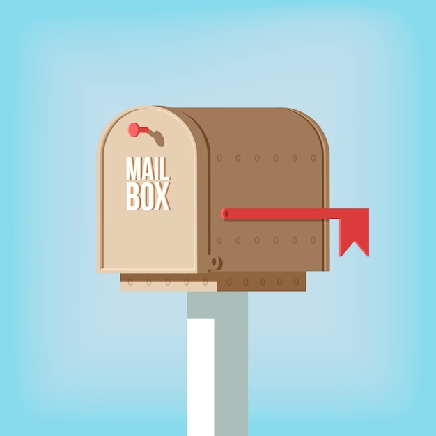 Mail postbox on pole with red flag Free Vector