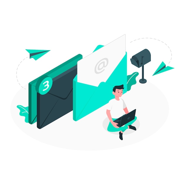 Mail sent concept illustration Free Vector