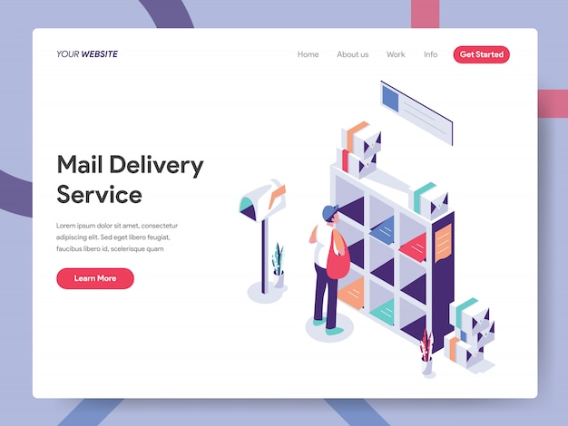 Mail service landing page Premium Vector