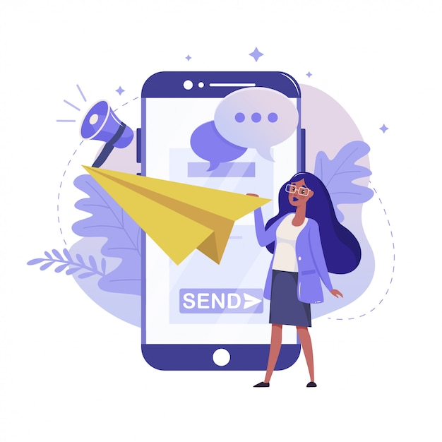 Mail service and mobile notification flat illustration. chatting and online communication color design. smartphone and woman throw paper plane colorful metaphor, isolated on white background. Premium Vector