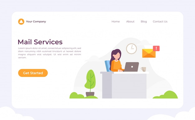 Mail Services Landing Page Vector Premium Download