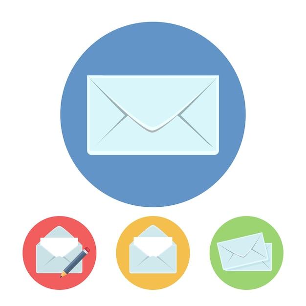 フラットスタイルのメール書き込み、取得、送信アイコンベクトルイラスト 無料ベクター