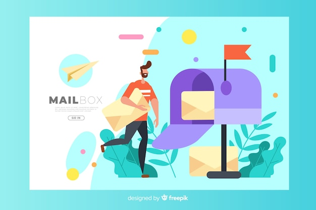 Mailbox concept for landing page Free Vector