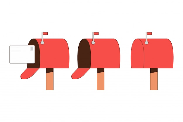Mailbox flat set isolated on a white background. Premium Vector