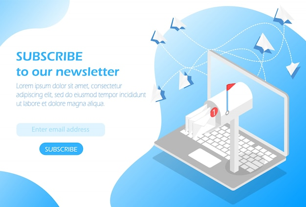 Mailbox in laptop. subscribe to our newsletter Premium Vector