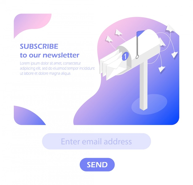 Mailbox. subscribe to newsletter. Premium Vector