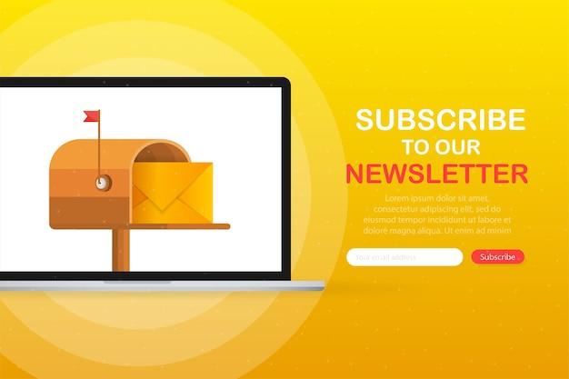 黄色の背景の画面デバイスにフラットスタイルで文字が入ったメールボックス。ニュースレターを購読する。 Premiumベクター