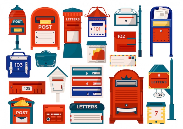 Mailboxes, letter boxes, pedestals for sending and receiving letters, correspondence, newspapers, magazines   illustration set. postal mail box, letters mailing delivery service. Premium Vector