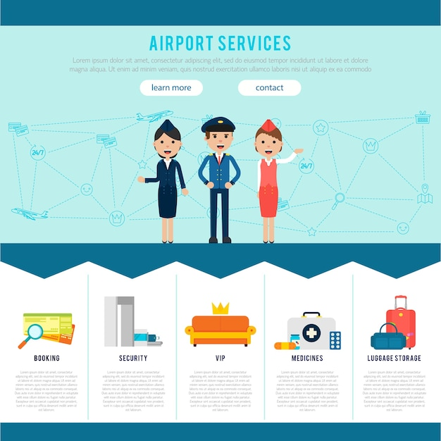Main airport page template Free Vector