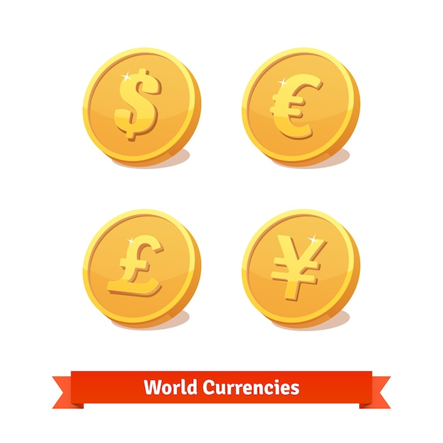 Main currencies symbols represented as gold coins Free Vector