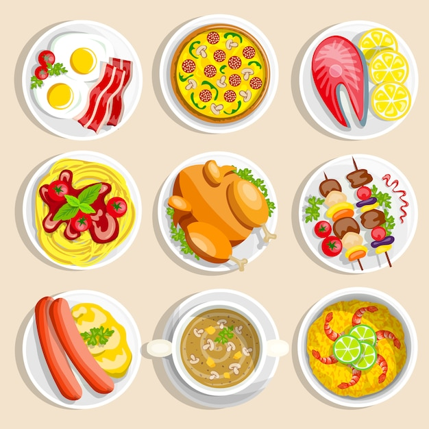 Main dishes set Free Vector