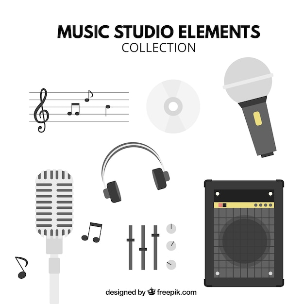 Main elements of a music studio Free Vector