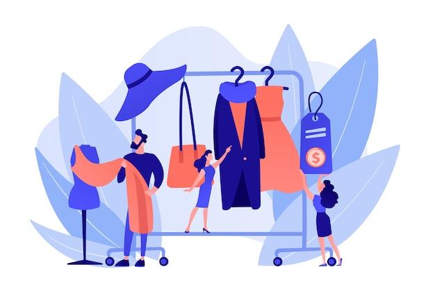 ファッション服のデザインを作成し、コートラックに掛けるメインマスターデザイナー。ファッションハウス、衣料品デザインハウス、ファッション制作コンセプト。ピンクがかった珊瑚bluevector分離イラスト 無料ベクター