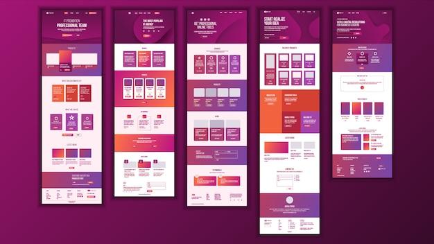 Main web page design Premium Vector