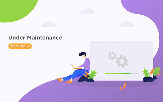 Under maintenance landing page illustration background Premium Vector