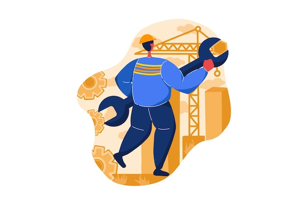 Maintenance service under construction web illustration