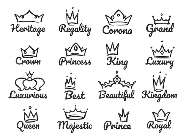 Majestic crown logo. sketch prince and princess, hand drawn queen sign or king crowns graffiti  ill