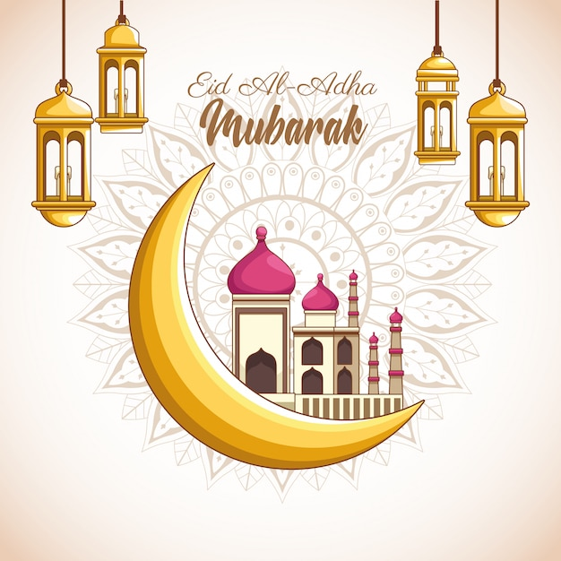 Major festival of the muslims Free Vector