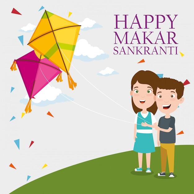 Makar sankranti greeting with kids flying kites Free Vector