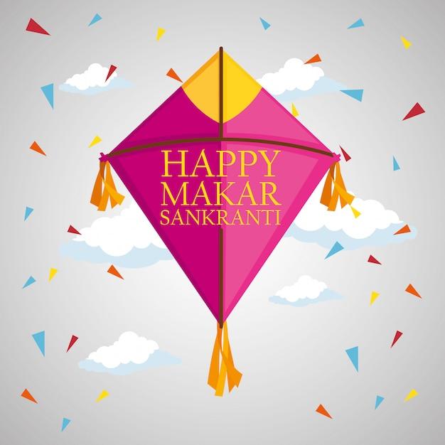 Makar sankranti greeting with kite and confetti Free Vector