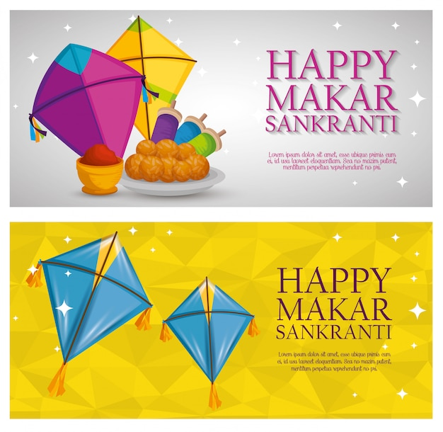 Makar sankranti greeting with kites banners Free Vector
