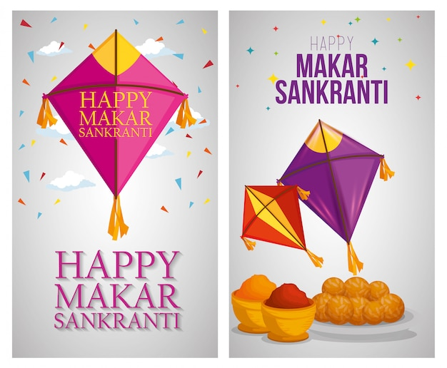Makar sankranti greeting with kites banners Free Vector
