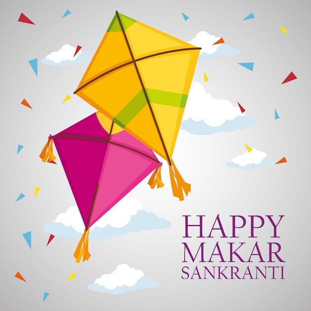 Makar sankranti greeting with kites and confetti Free Vector