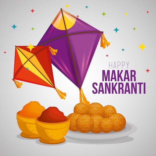 Makar sankranti greeting with kites and food Free Vector