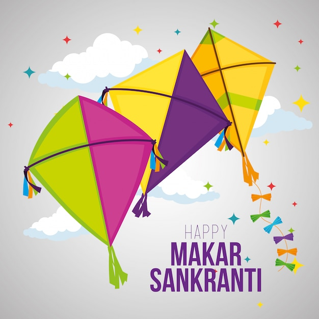 Makar sankranti greeting with kites Free Vector