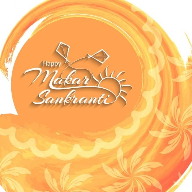 Makar Sankranti Orange Background Vector Free Download