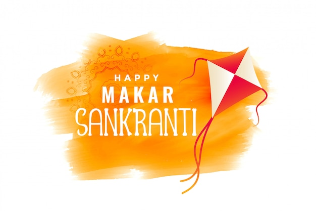 Makar sankranti watercolor banner with flying kite Free Vector