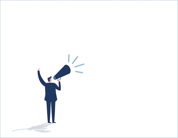 Make an announcement. message business people concept vector flat design illustration background. Premium Vector